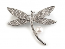 Brooch with Rhinestones and Faux Pearl Dragonfly, Feather
