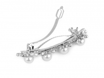 French Hair Clip with Pearls and Rhinestones