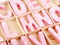 Wood Letters in a Box - pink, blue